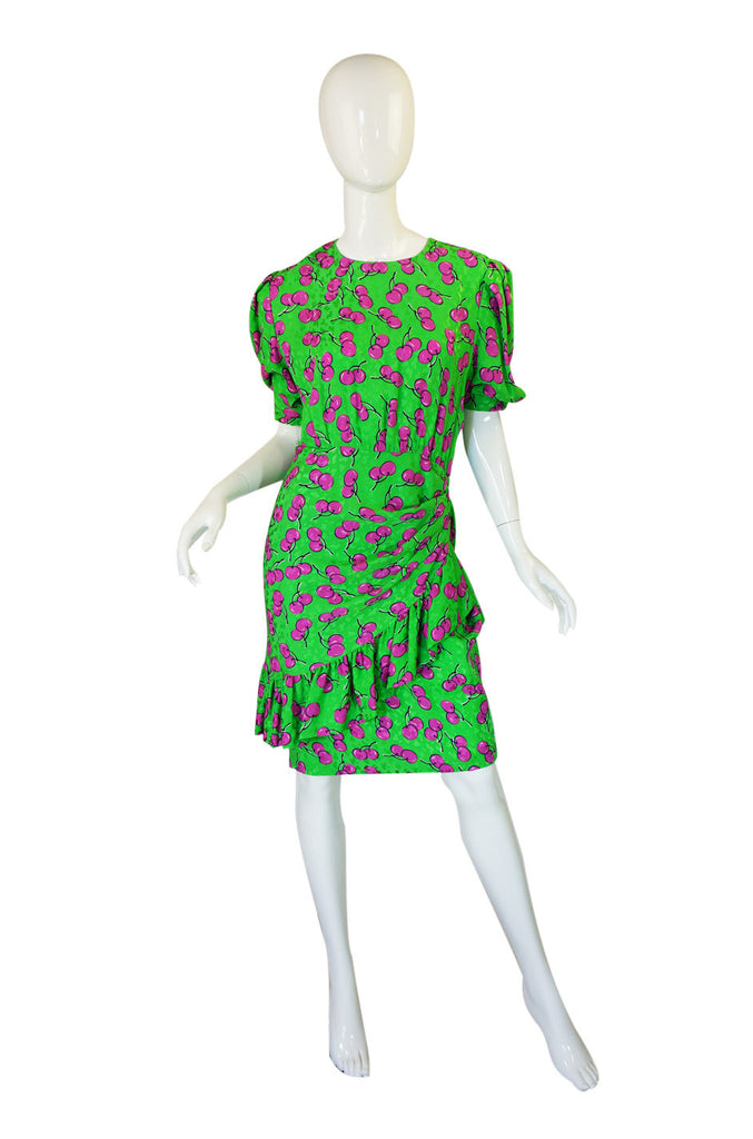 1980s Silk Givenchy Green Cherry Dress