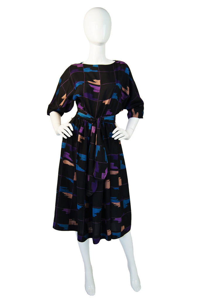 1980s Silk Print Day Dress with Sash