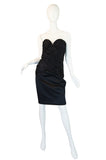1980s Black Gathered Silk Satin Vicky Tiel Strapless Dress