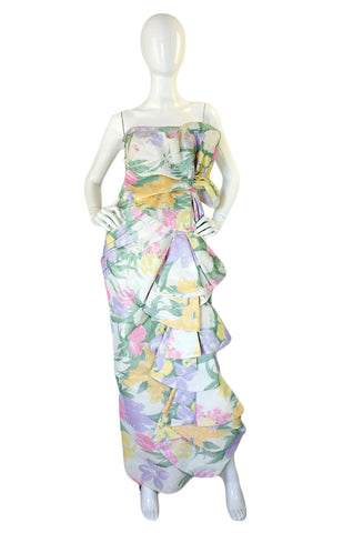 1980s Strapless Ruffled Pastel Silk Mignon Gown