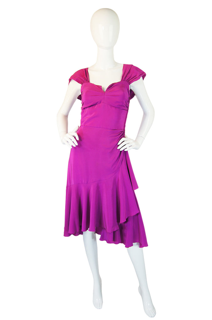 Feminine 1980s Sueded Bright Pink Silk Vicky Tiel Dress