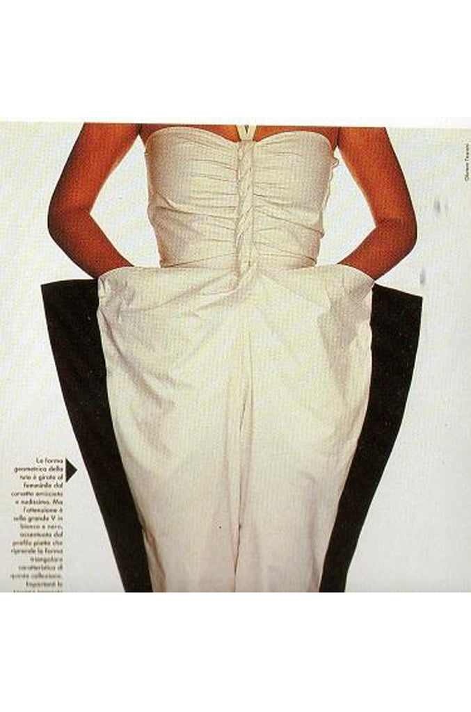 1982 Krizia by Mariuccia Mandelli Deep Plunging Front Sculptural Dress