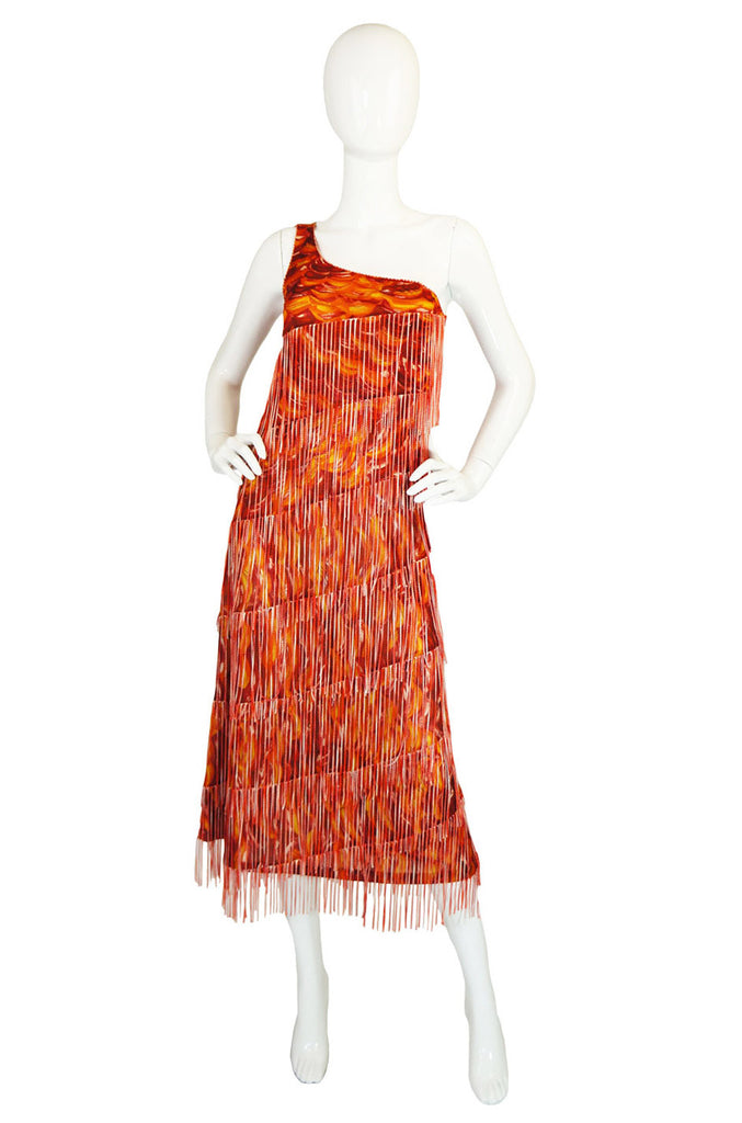 1990s Missoni One Shoulder Fringe Dress