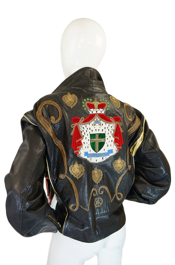 1980s Moschino Leather Crest Jacket