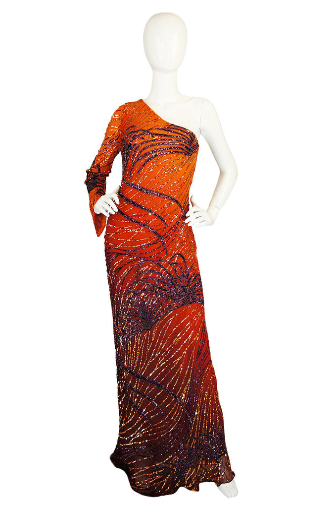 1990s Beaded Ombre Silk Chiffon Gown