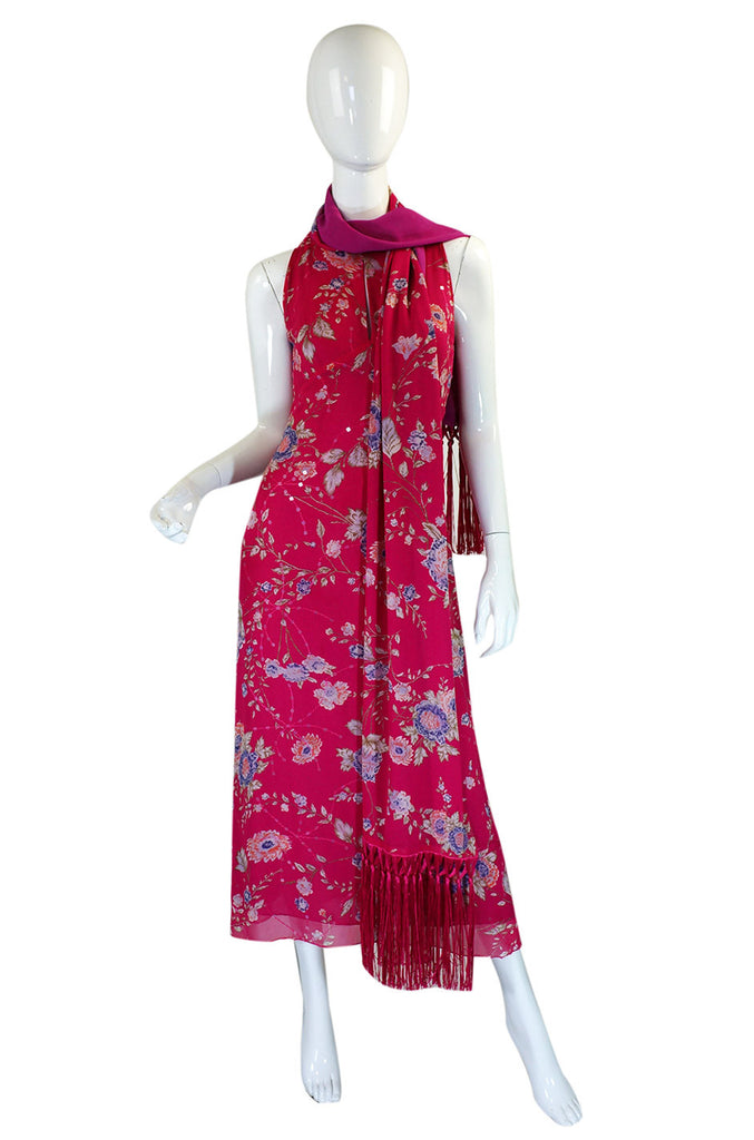 1990s Pink Ungaro Dress & Fringe Scarf