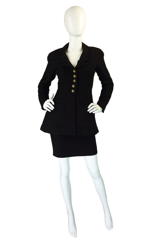 1993 Chanel Black Boucle Jacket & Skirt