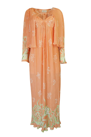 1970s Bill Tice Peach Print Halter Dress & Jacket Pleat Set