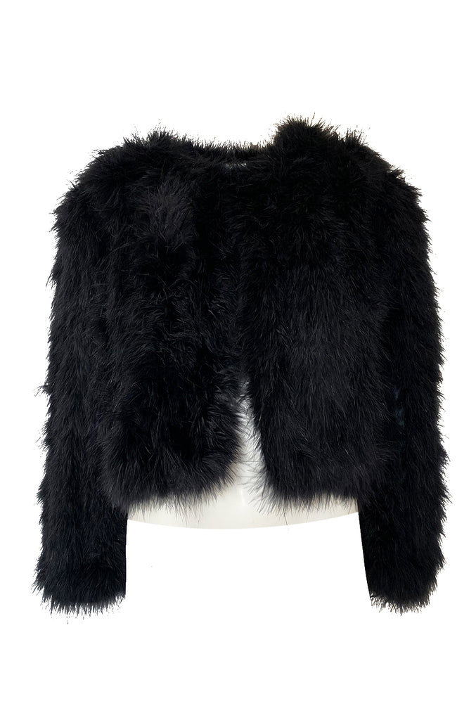 1970s Unlabeled Soft & Fluffy Black Feather Cropped 'Chubby' Jacket