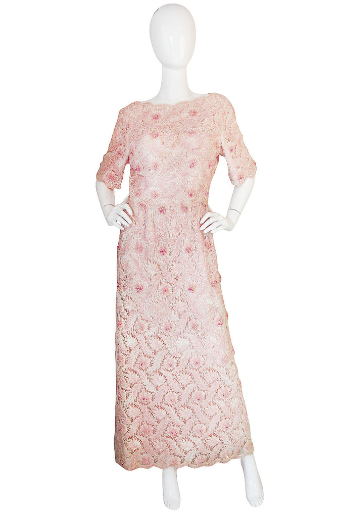 1960s Hand Beaded Maggie Reeves Couture Gown