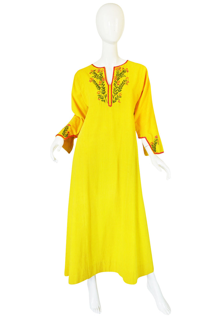 1960s Bright Yellow Cotton Embroidered Josefa Caftan