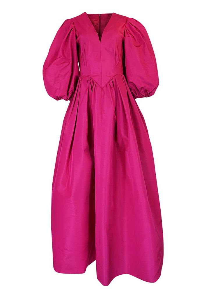 1960s Pauline Trigere Vivid Pink Silk Dress w Stunning Sleeves
