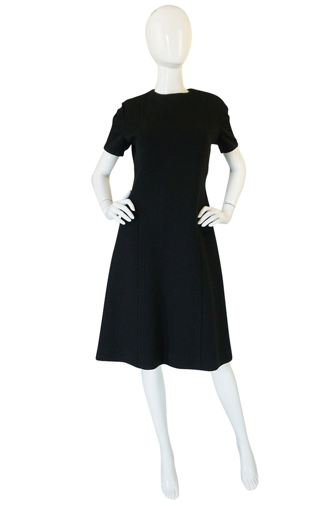 1960s Little Black Shift Dress with Curved Seams