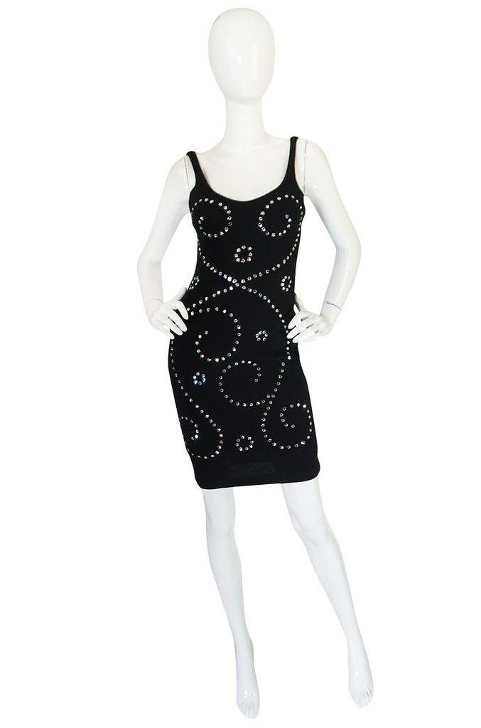 Rare 1990s Todd Oldham Rhinestone Mini Dress