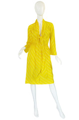 S/S 1976 Halston Demi-Couture Bias Cut Yellow Silk Dress