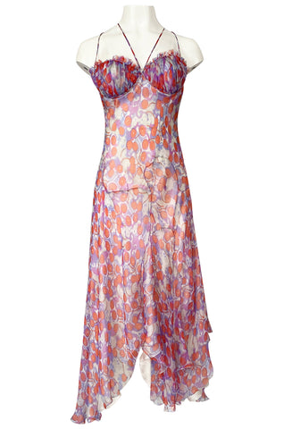 c2003 Alexander McQueen Silk Chiffon Cherry Print Backless Dress