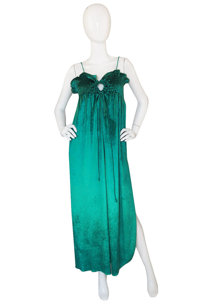 1970s Green Liquid Velvet Bill Tice Maxi