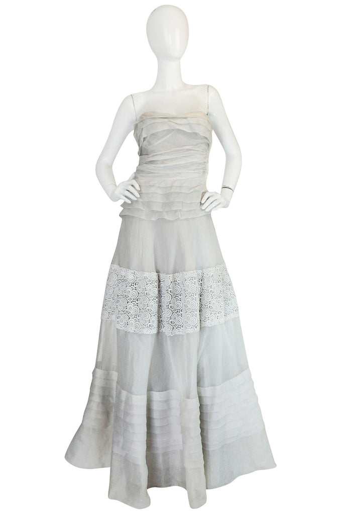 1950s Hardy Amies Couture Fine Silk Organza & Lace Dress