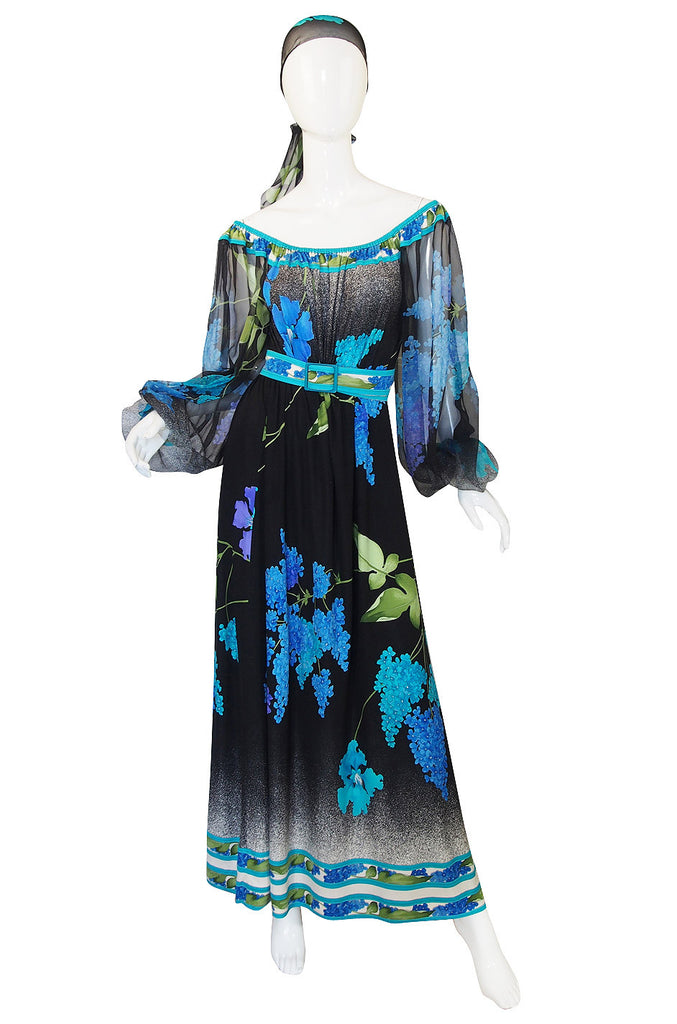 1970s Leonard Silk Chiffon & Jersey Caftan Dress