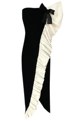 Spring 1980 Bill Blass Ivory Silk Ruffle on Ink Black Velvet Strapless Dress