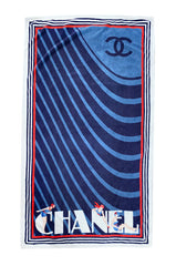 Early 2000s Chanel Art Deco Feel Blue Towel w Diving Girls & Logo