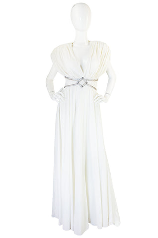 1970s Frank Usher Grecian Draped Beaded Jersey Dress