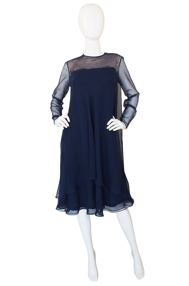 1960s Blue Silk Malcolm Starr Dress