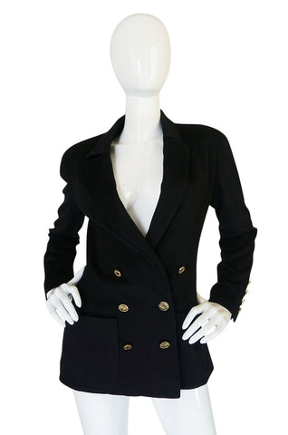 1980s Chanel Cashmere w 14 Chanel Gold Buttons Jacket