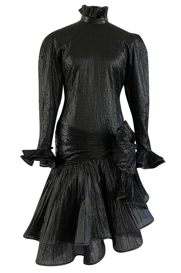 1980s Salvadori Albani Couture Black Textured Silk Lame & Plisse Finish Drop Waist Dress