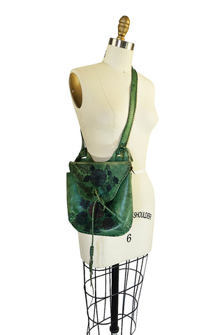 Rare 1960s Deep Green Hand Painted Char Messenger Bag