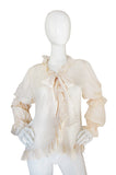 1970s Silk Yves Saint Laurent Ruffled Top