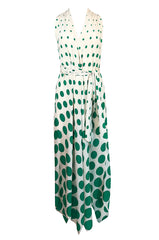 c.1972 Pauline Trigere Graduated Green Dots on Bias Cut Silk Dress