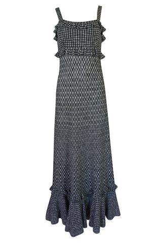 Vintage Chanel Black & White Check Soft Stretch Knit Halter Dress