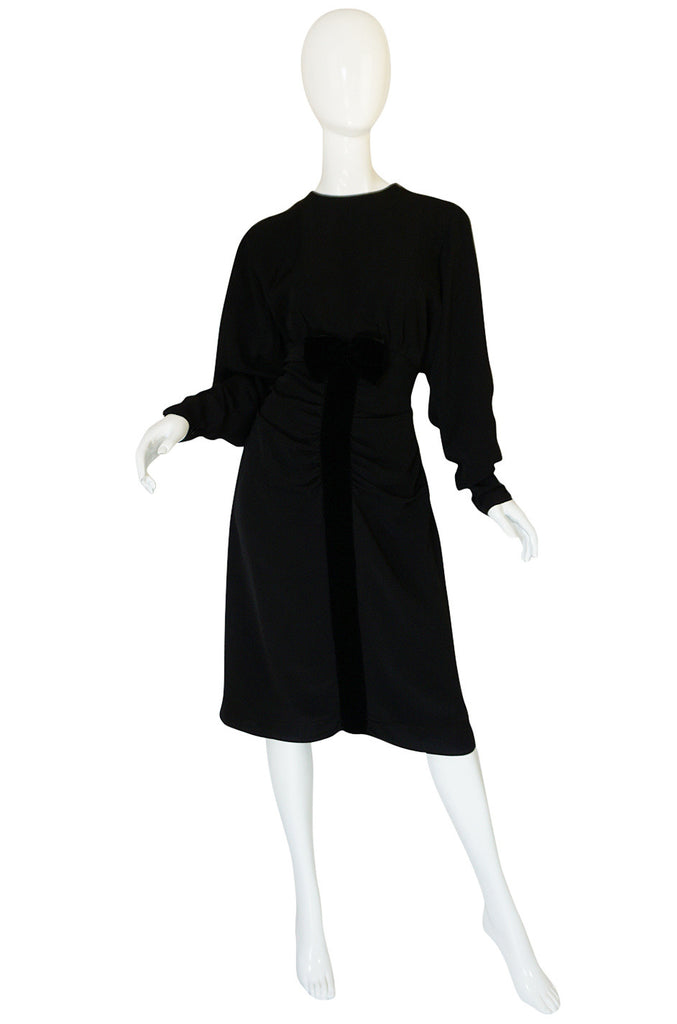 1980s Nina Ricci Demi-Couture Velvet Accented Dress