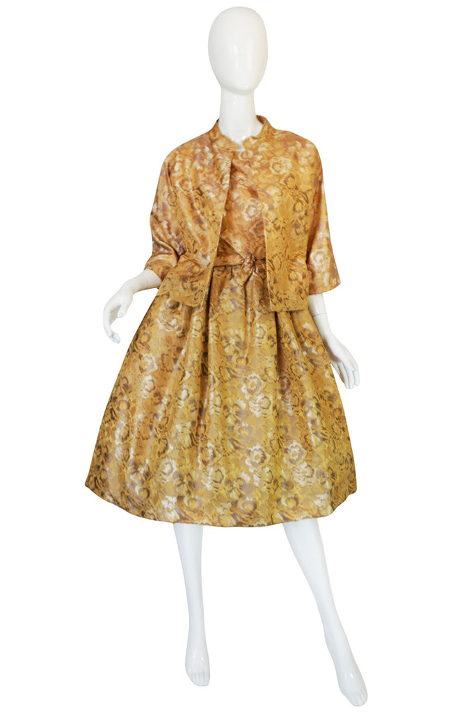 Rare 1950s Gustave Tassel Golden Silk Dress & Jacket