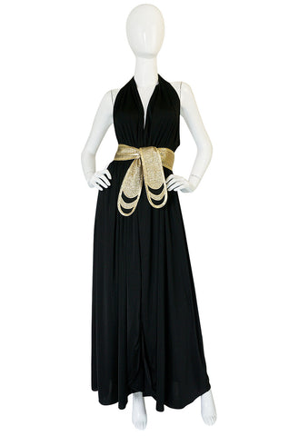1970s Bill Tice Plunge Black & Gold Backless Halter Dress
