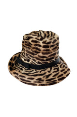 Rare c. 1963 Lilly Dache Leopard Print Fur Slouchy Fedora Hat