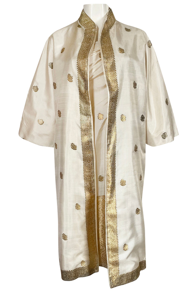 1960s Stavropoulos Gold Embroidered Ivory Silk One Shoulder Dress & Coat