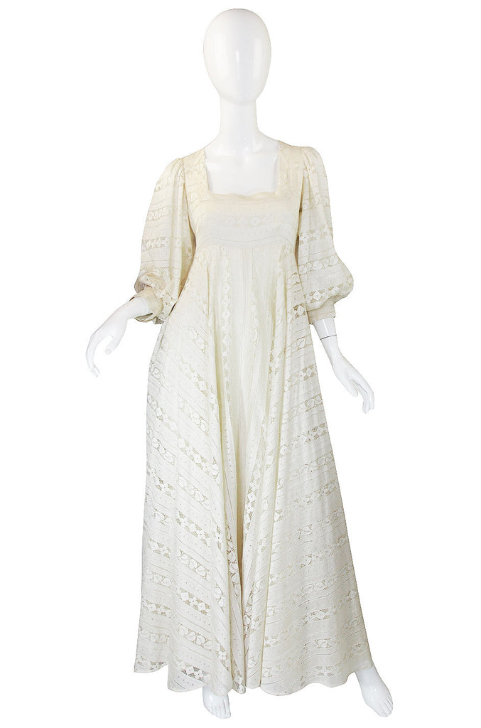 1970s Cream Lace Thea Porter Couture Gown