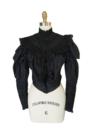 Exceptional Victorian Black Silk & Handmade Lace Top