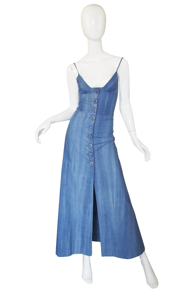 1960s Denim Look Biba Plunge Maxi Dress