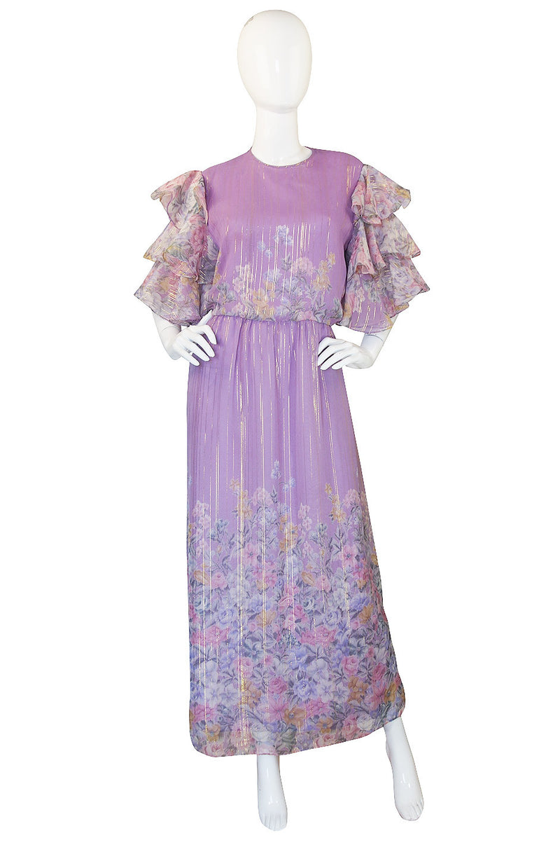 1980s Ruffle Sleeve Floral & Gold Hanae Mori Dress