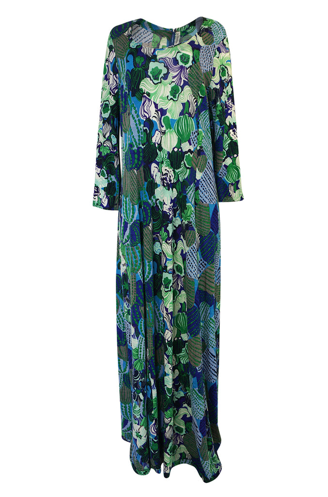 1960s La Mendola Printed Light Wool Jersey Wide Sleeve Caftan Dress