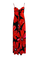 1978 Halston Resort Swimwear Red Floral Jersey Halter Dress