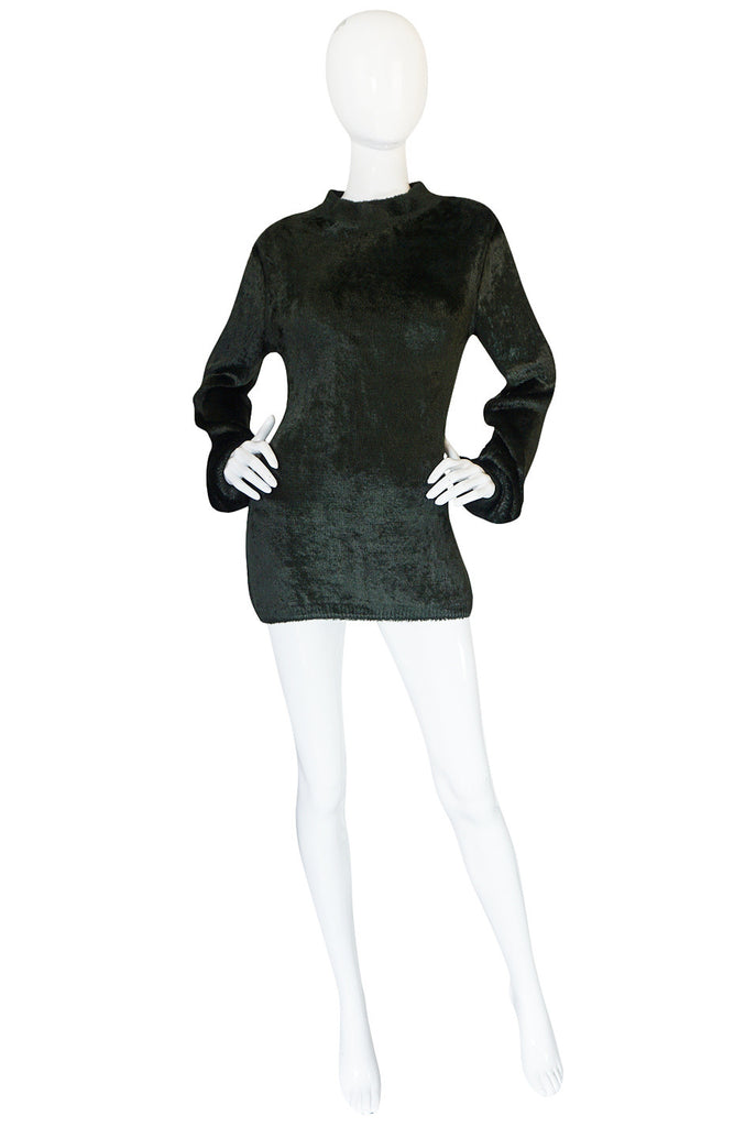 Fall 1991 Azzedine Alaia Deep Green Chenille Sweater