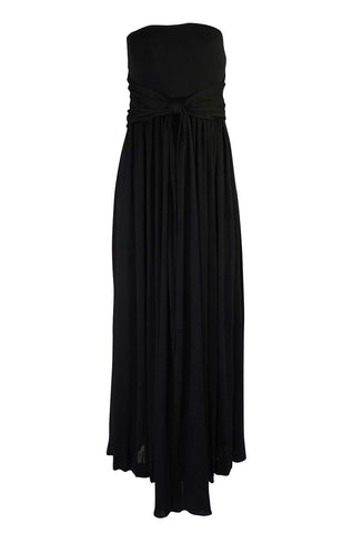 1970s Donald Brooks Black Strapless Jersey Swing Dress