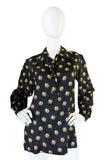 1974 Yves Saint Laurent Silk Floral Print Top