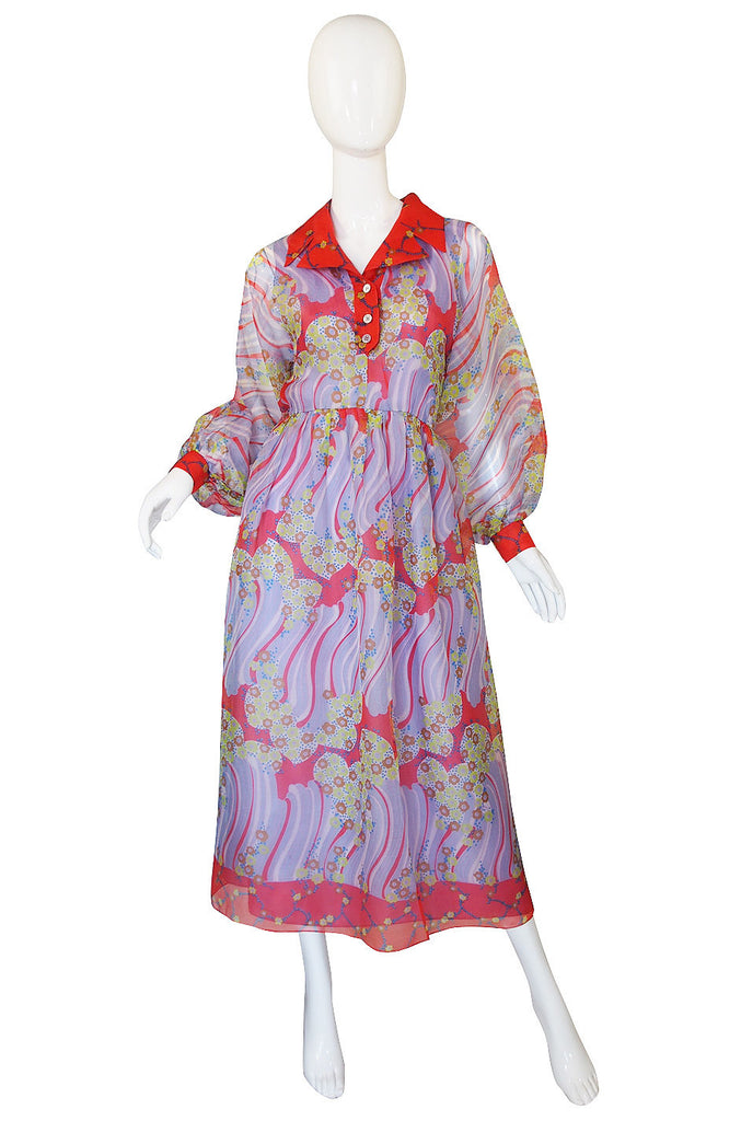1960s Silk Viole Print Oscar de la Renta Dress