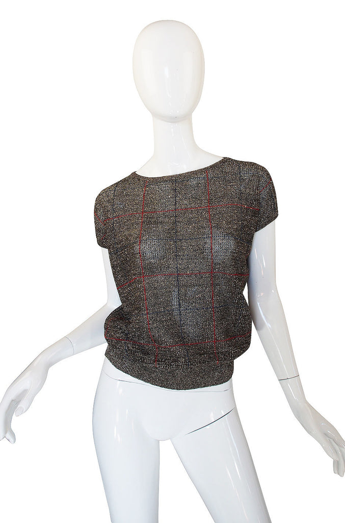 1970s Gianni Versace Lurex Sweater Top