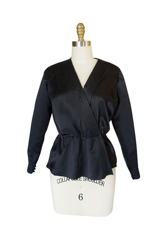Fall 1978 Christian Dior Haute Couture Black Silk Wrap Top